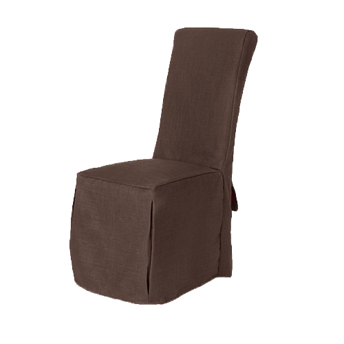 Set of 8 Chocolate Fabric Dining Chair Covers for Scroll