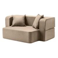 Latte Wool Feel Poppy Easy Fold Out Flip Sofa Bed Foam ...