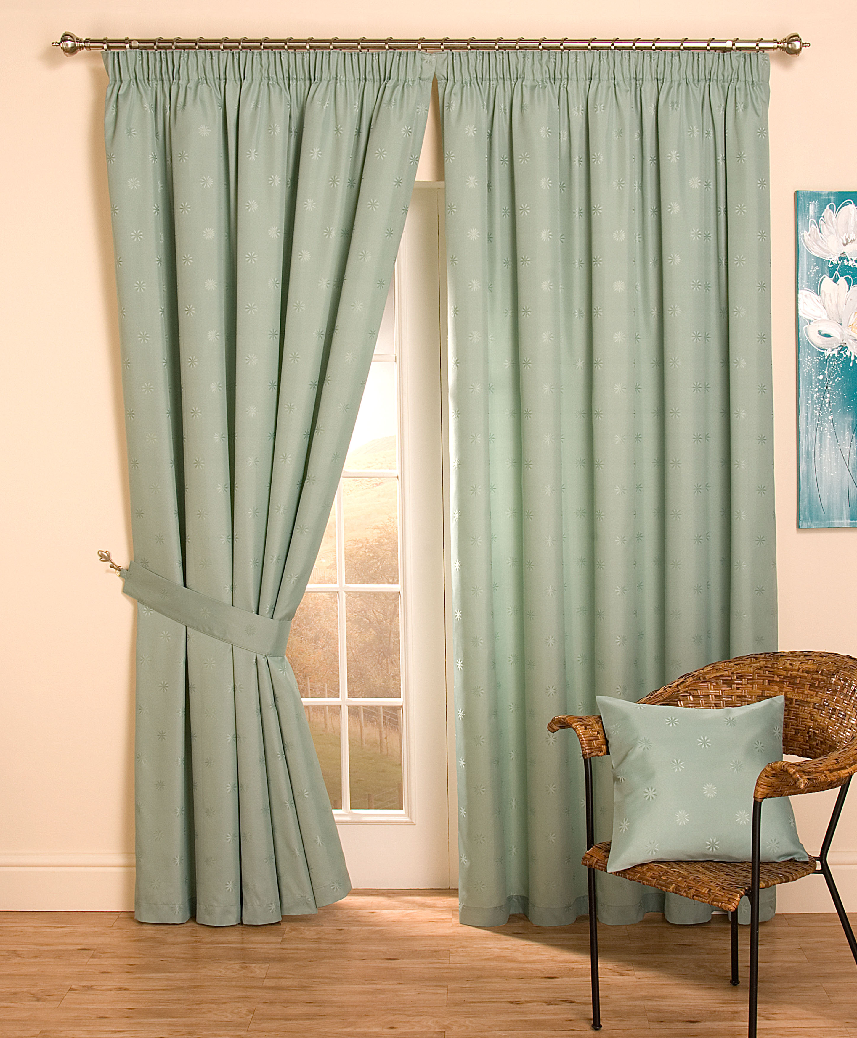 Cheap Full Lined Tape Top Pencil Pleat Jacquard Curtains &amp