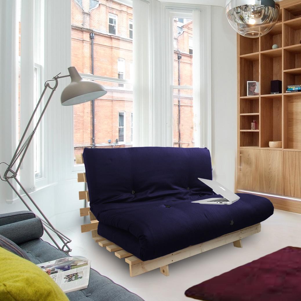 navy blue sofa bed uk billige chaiselong sofaer studio futon wooden frame thick