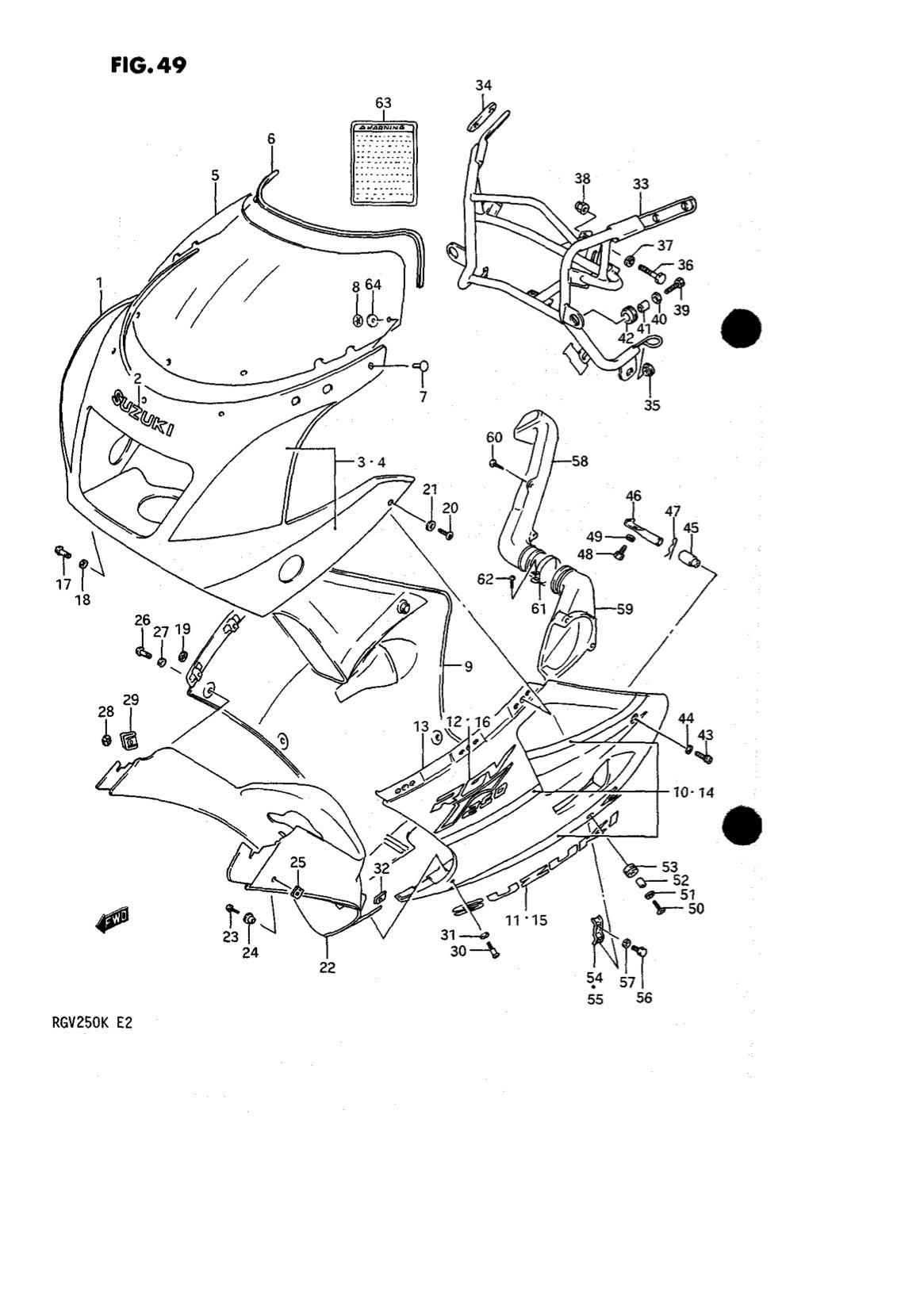 Suzuki Genuine RGV250 K-L 1989-1990 Pipe Under Cowling