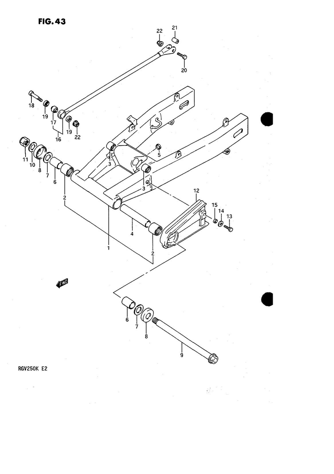 Suzuki Genuine RGV250 K-L 1989-1990 Rear Swingarm Bolt