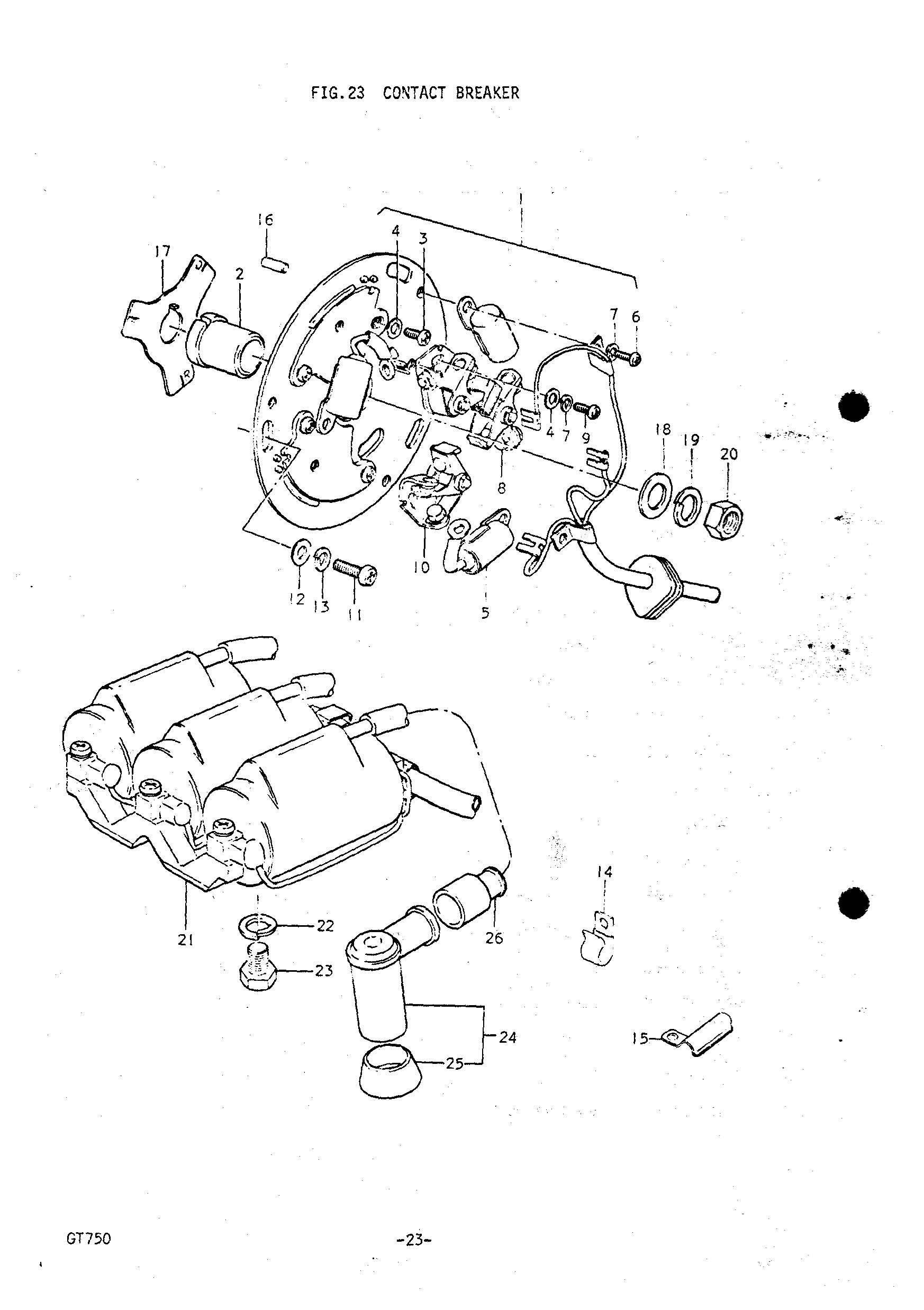 Original Suzuki gt750 J-M 1972-1975 Contact Breaker Cam