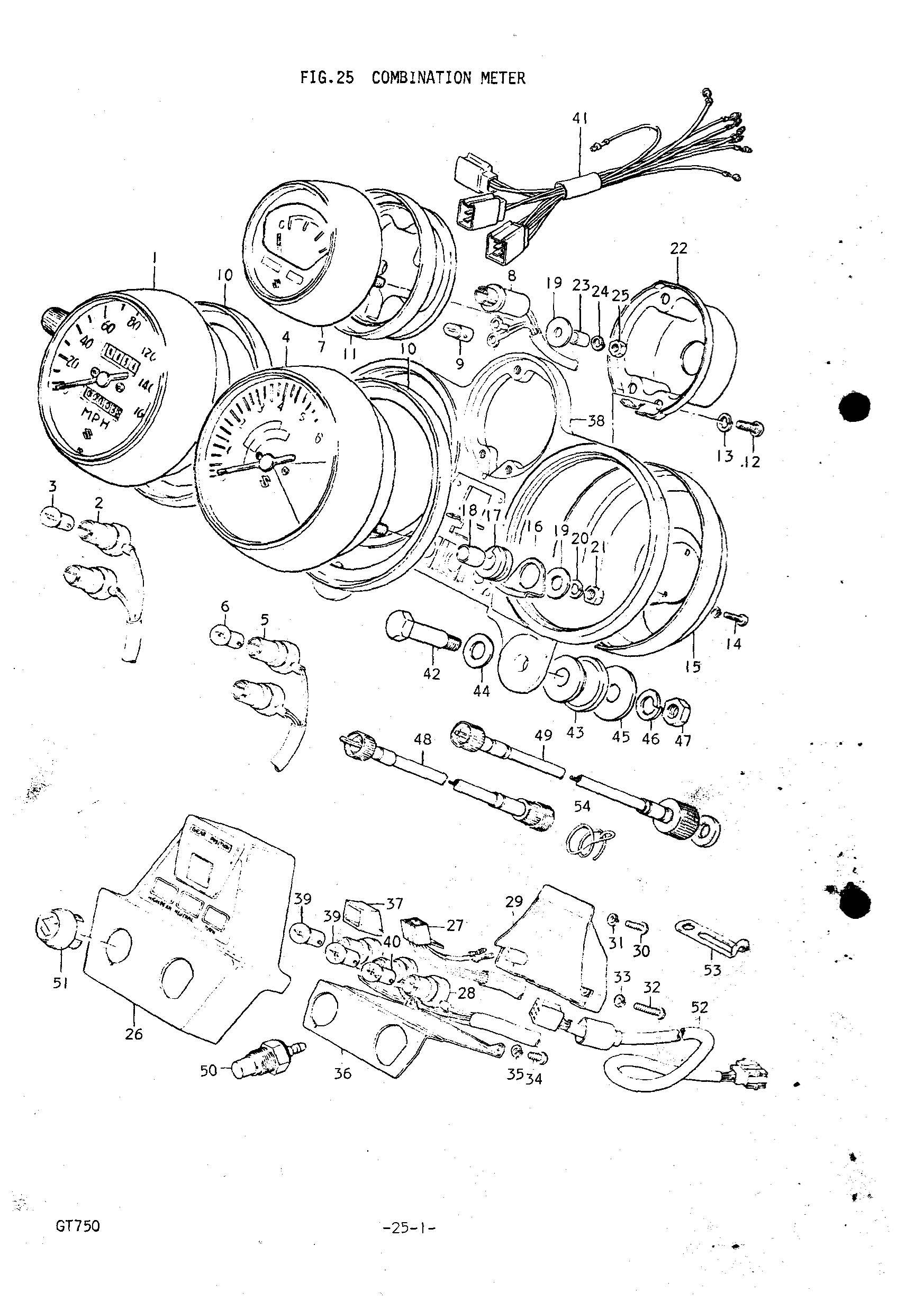 Genuine Suzuki GT750 L 1975 Combination Meter Washer 09160