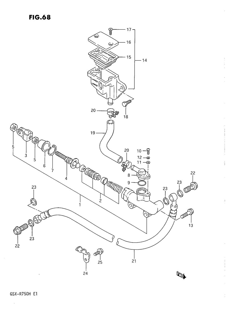 Genuine Suzuki GSX-R750 F-H 1985-1987 Rear Master Cylinder