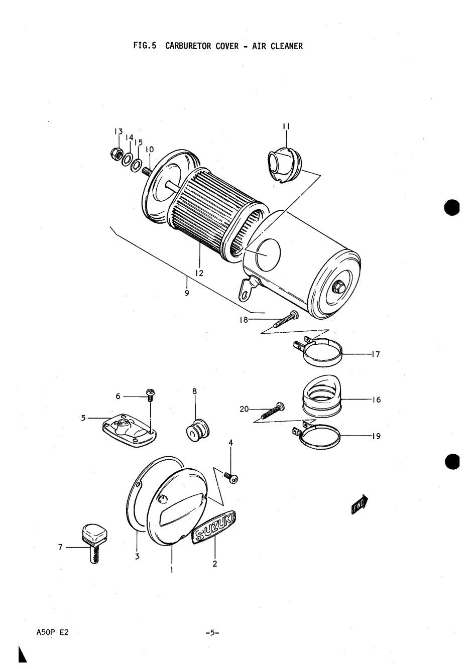 Genuine Suzuki A50P (AP50) Carburetor Cover Air Cleaner