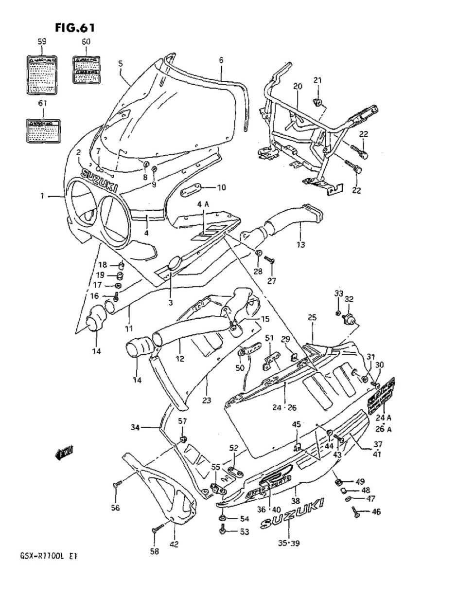Original Suzuki gsx-r1100l Modell L cowling side RH Band