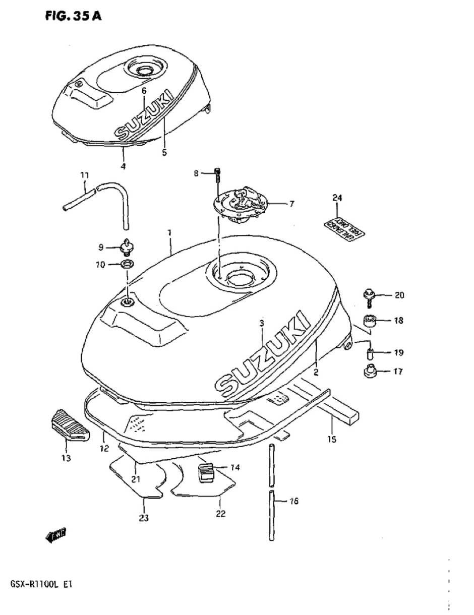 Genuine Suzuki GSX-R1100L Model L Fuel Tank Lower Cushion