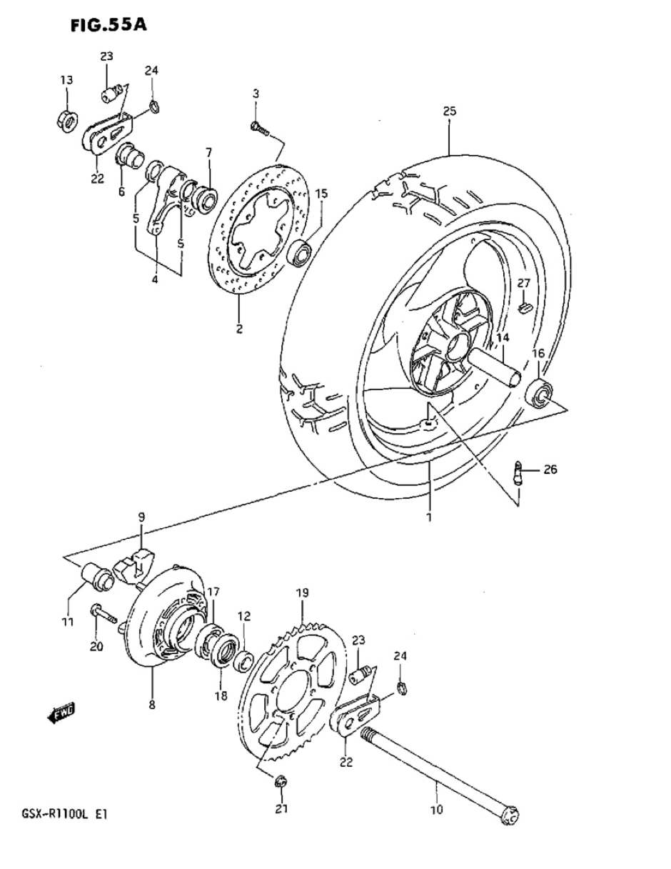 Genuine Suzuki GSX-R1100L Model L Rear Wheel Drum Bearing
