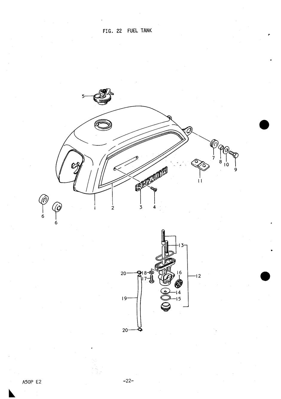 Genuine Suzuki A50P (AP50) Fuel Tank Filter Set 44300
