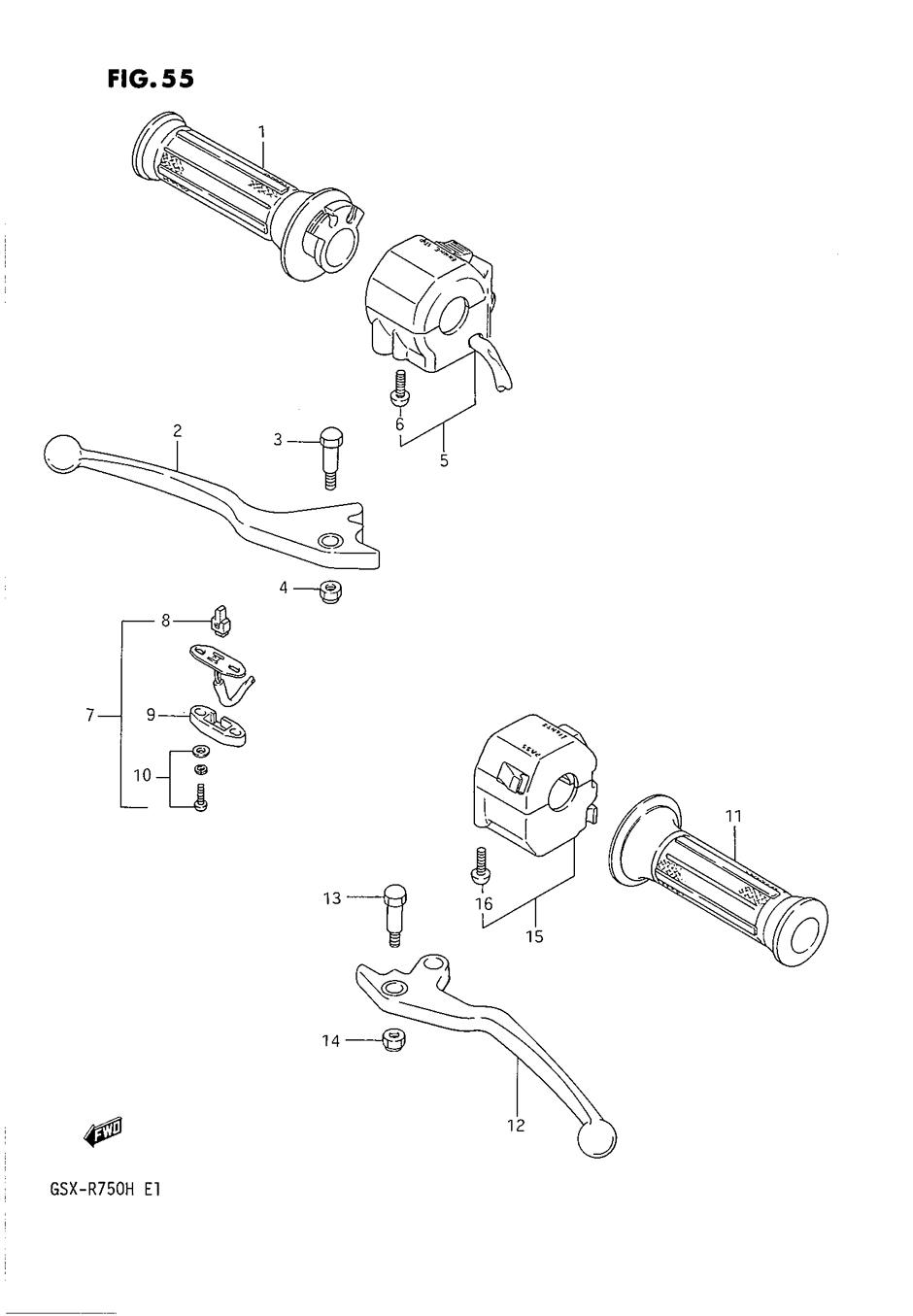 Genuine Suzuki GSX-R750 G-H 1986-1987 Handle Switch LH