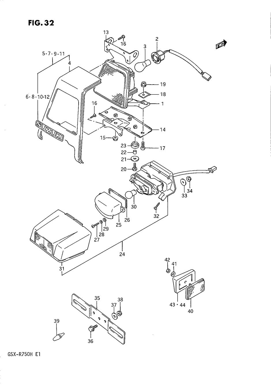 Genuine Suzuki GSX-R750 F-H 1985-1987 License Lamp Number