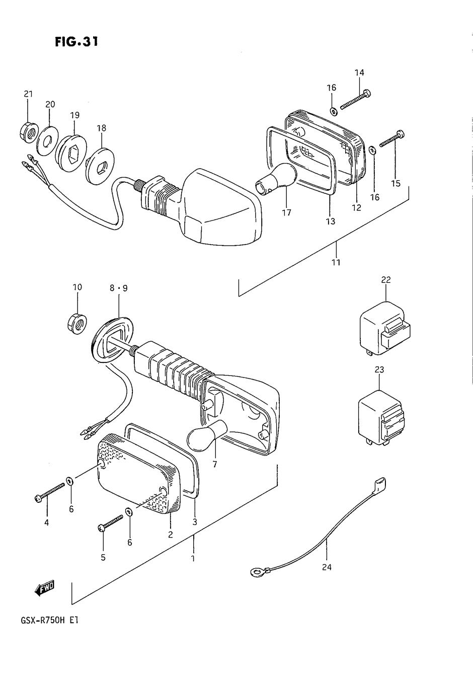 Genuine Suzuki GSX-R750 F-H 1985-1987 Turn Signal Lamp