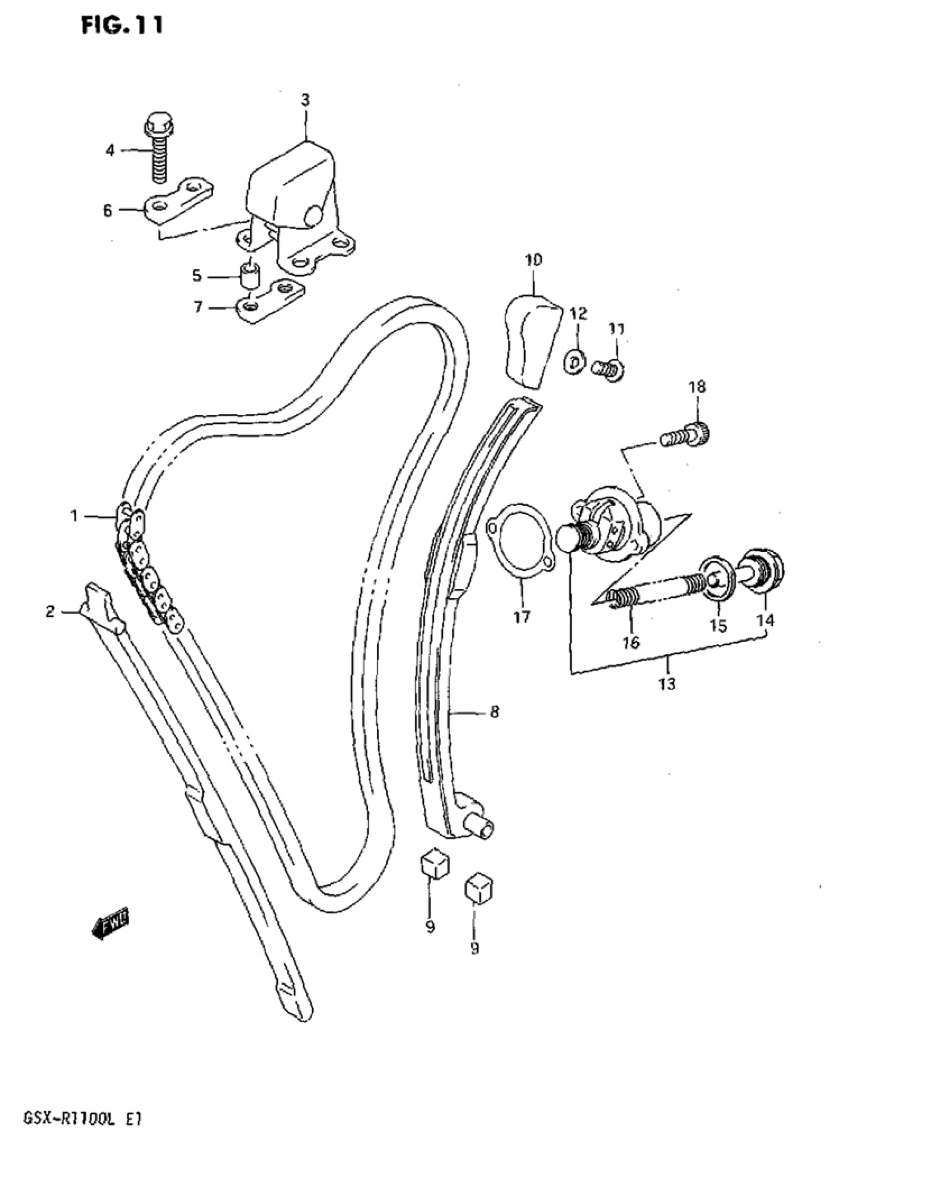 Genuine Suzuki GSX-R1100L Cam Chain Tensioner Adjuster