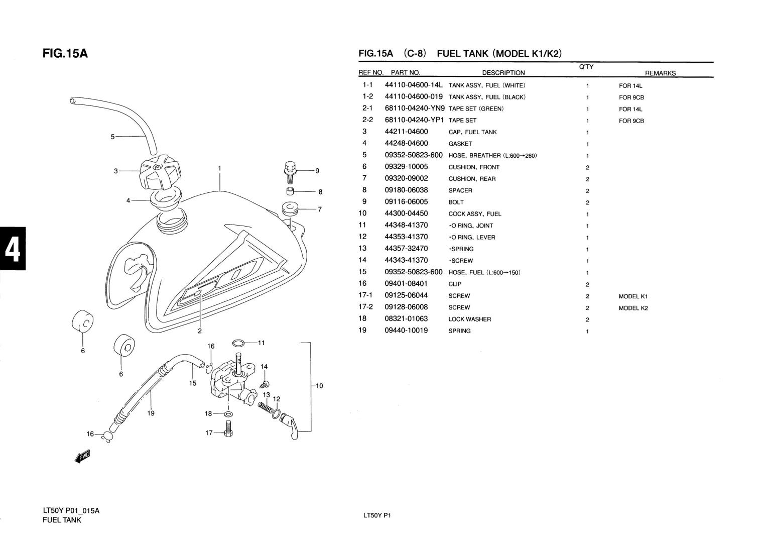 Genuine Suzuki LT50 Model KI, K2 ATV Fuel Tank Fuel Tank