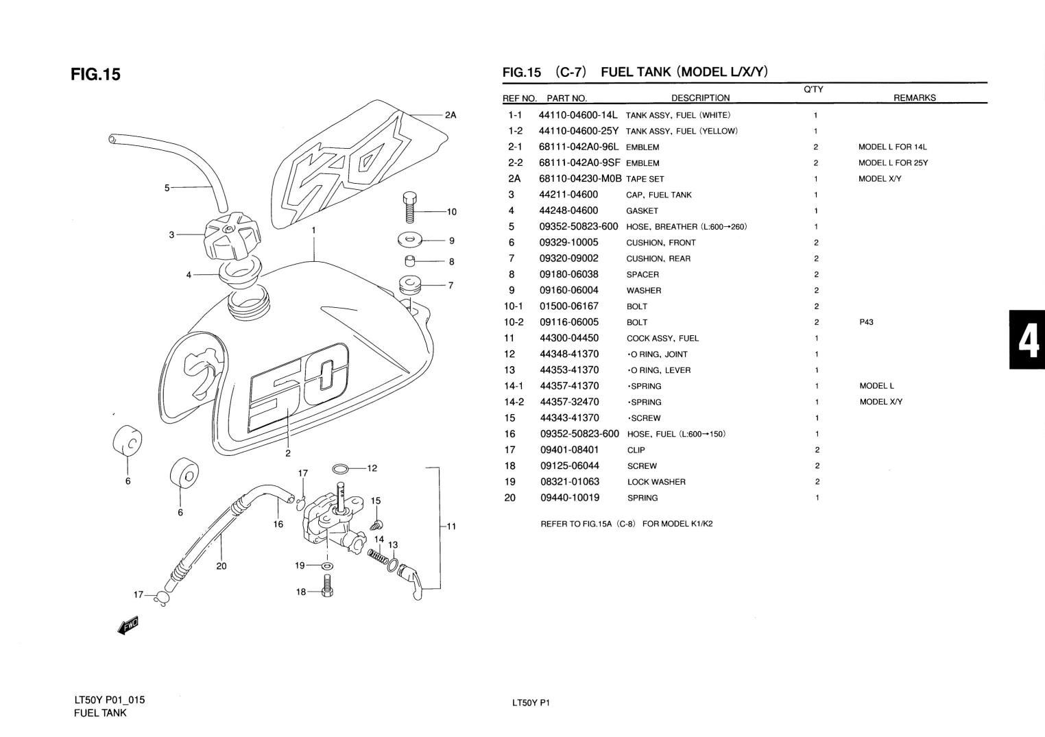 1997 suzuki lt50 parts diagram karcher puzzi 100 genuine model l x y atv fuel tank