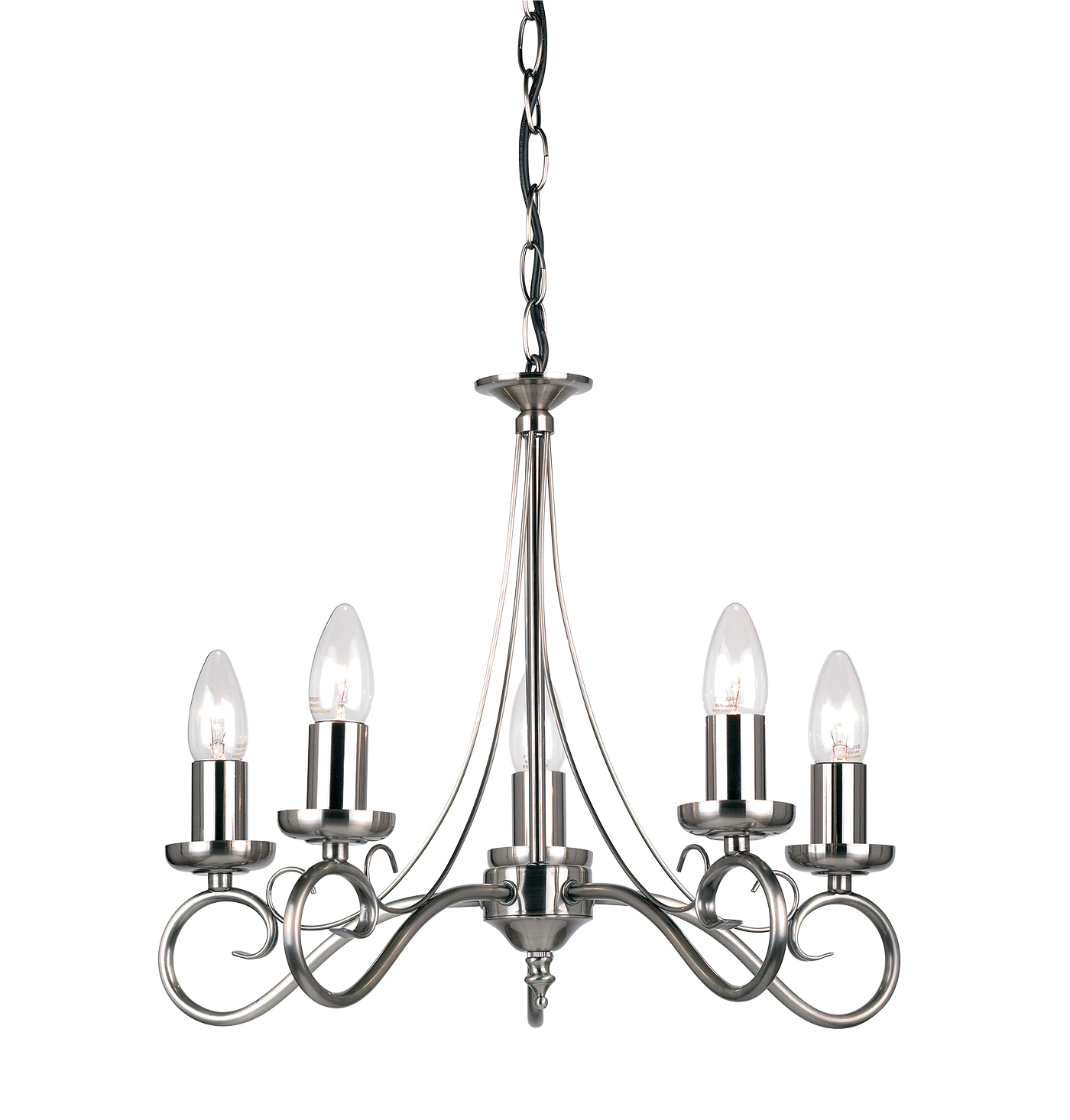 Endon Trafford chandelier 5x 60W Antique silver effect