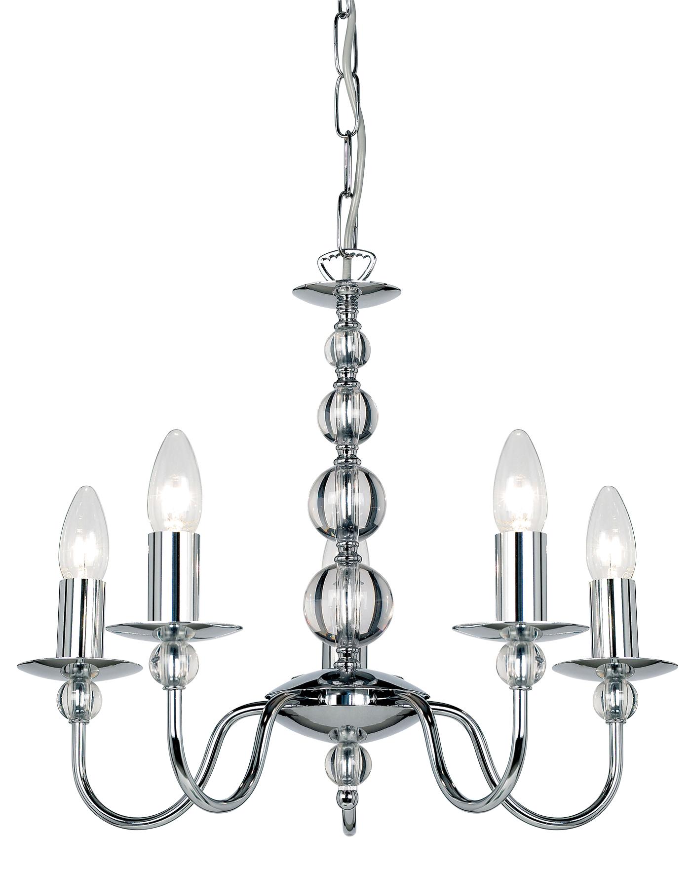Endon Parkstone chandelier 5x 60W Chrome effect plate