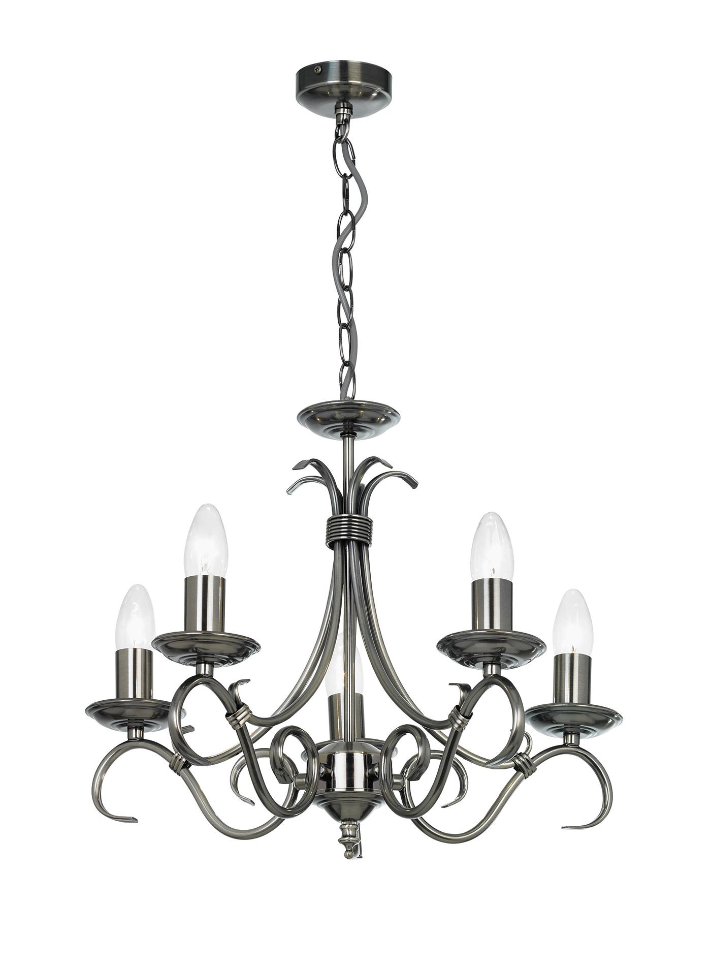 Endon Bernice chandelier 5x 60W Antique silver effect