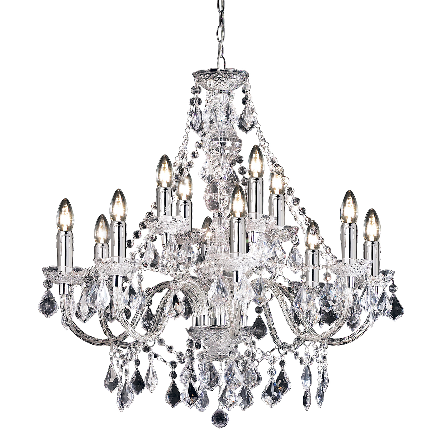 Endon Clarence Chandelier 12x 60w Clear Acrylic Amp Chrome