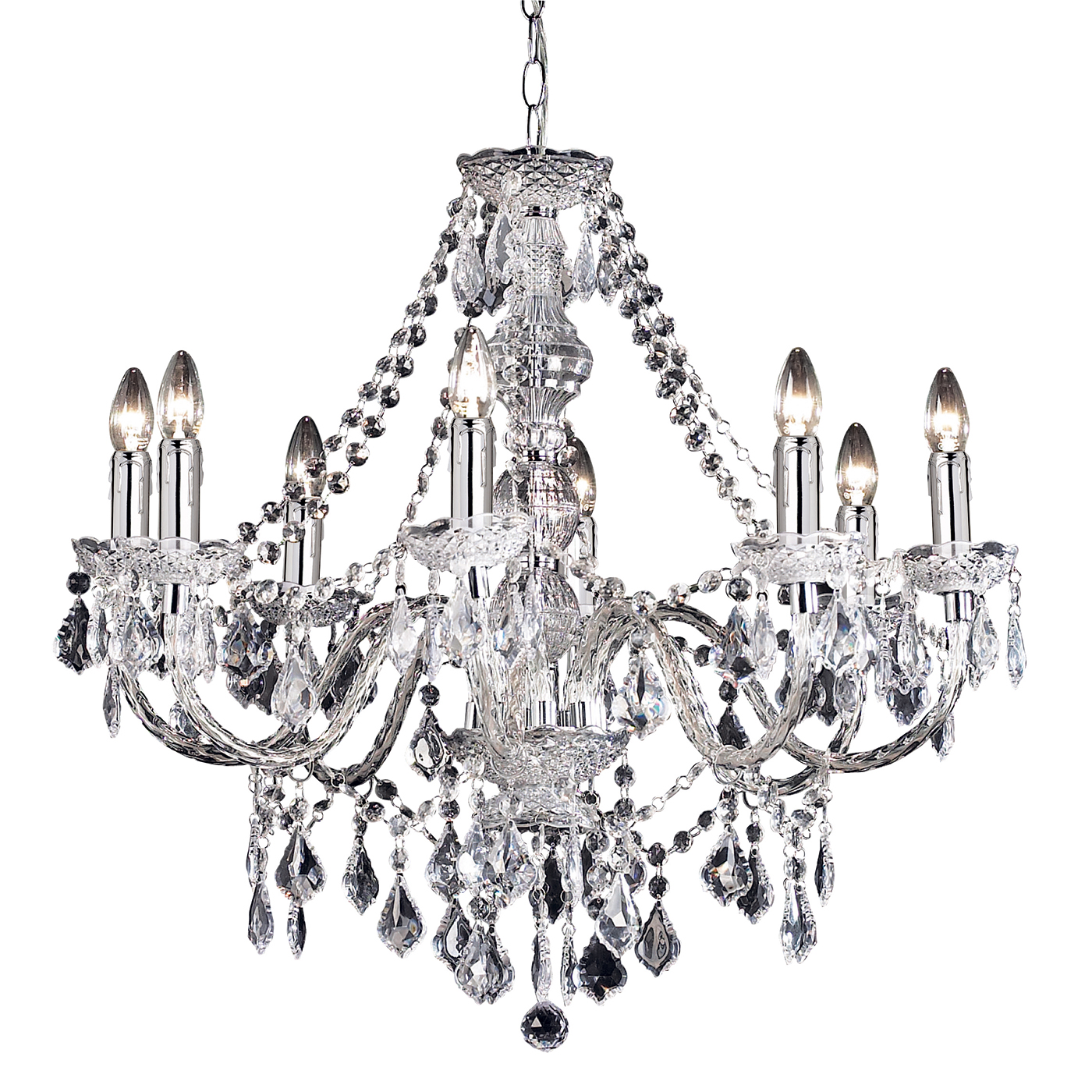 Endon Clarence Chandelier 8x 60w Clear Acrylic Amp Chrome