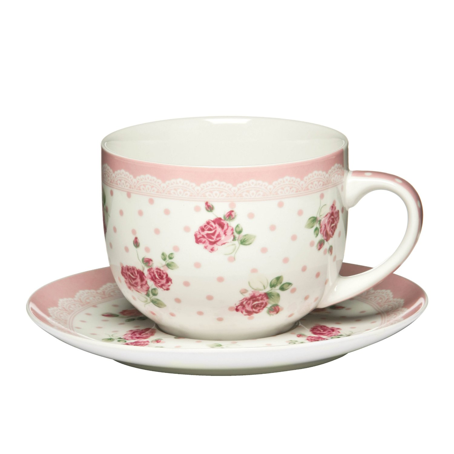 PREMIER LARGE 16OZ ROSE PINK BONE CHINA CUP AND SAUCER