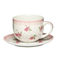 PREMIER LARGE 16OZ ROSE PINK BONE CHINA CUP AND SAUCER ...