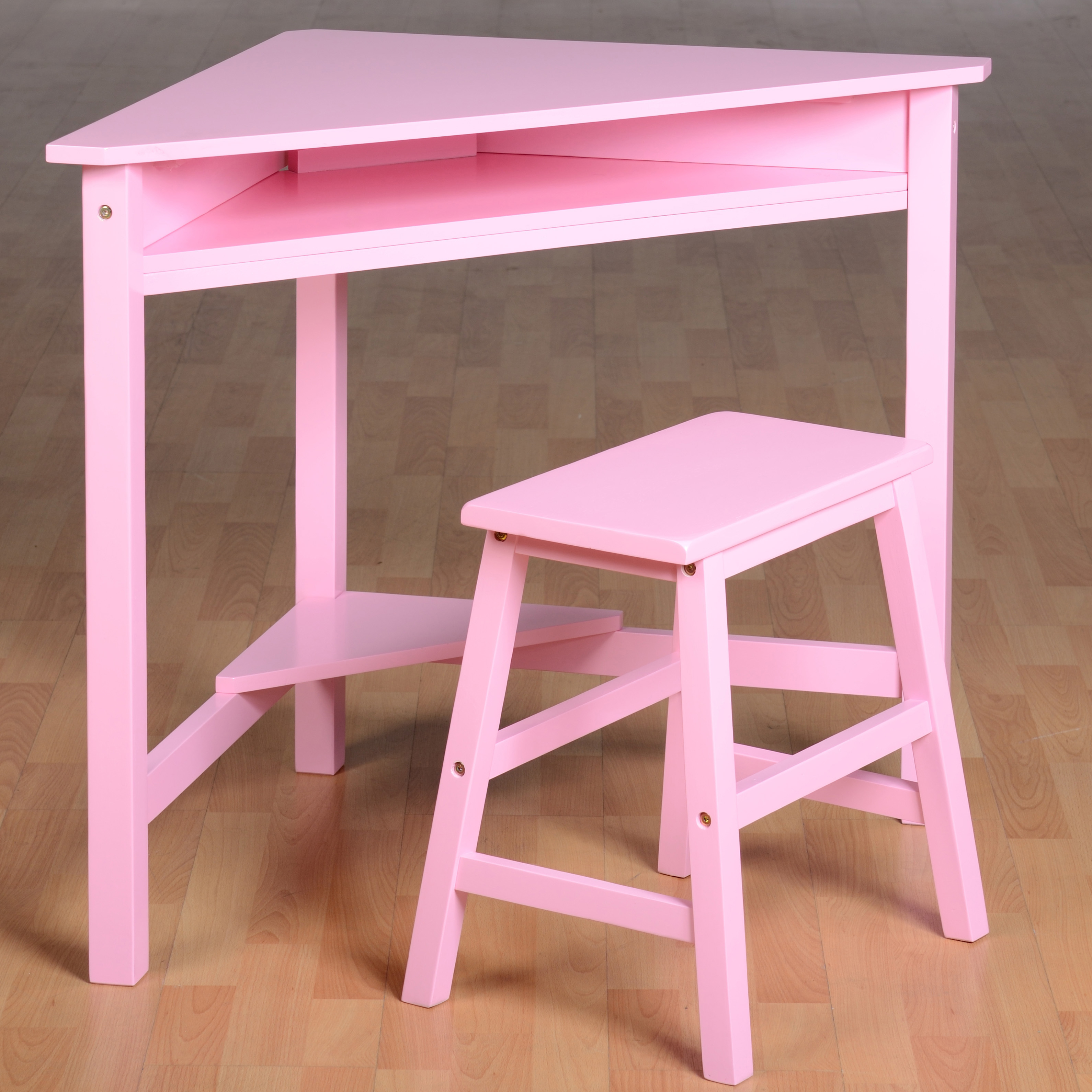 girls desk and chair grey suede covers corner stool wood computer workstation kids