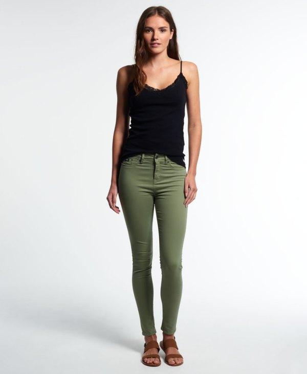 Womens Superdry Sophia High Waist Super Skinny Jeans Khaki