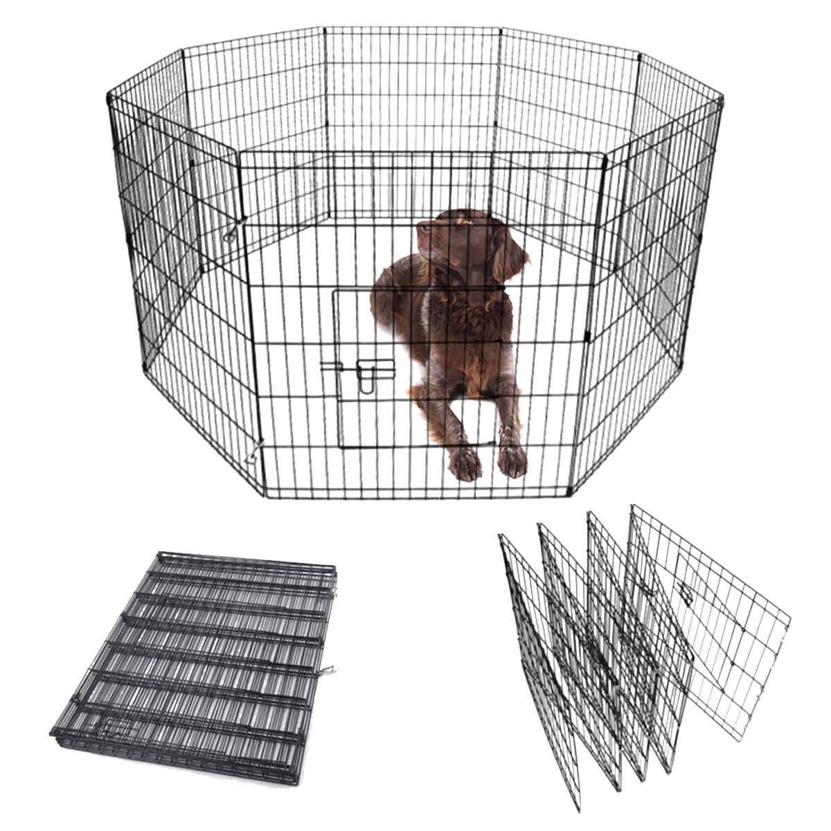 8 Panel Pet Playpen For Dog Puppy Rabbit Portable Cage Run