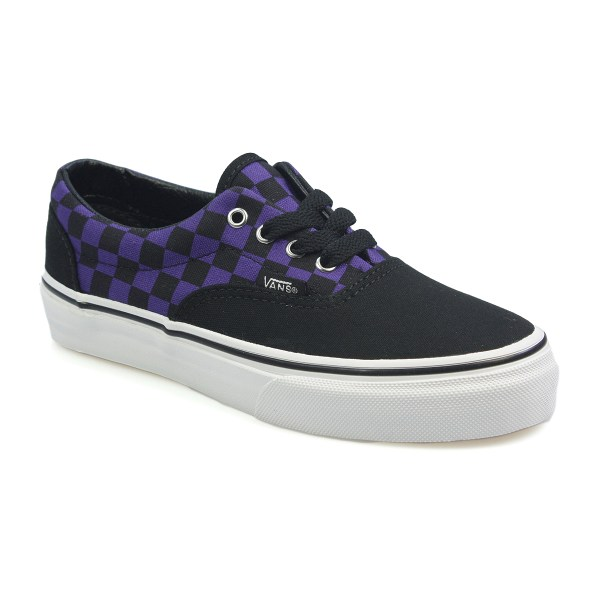 Vans Era Purple Black Check Canvas Trainers Sneakers Laced