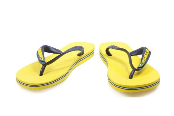 Havaianas Brasil Logo Toddler Kids Yellow Rubber Flip