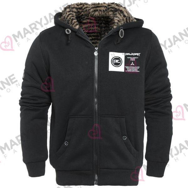 Mens Rawcraft Stripe Faux Fur Lined Body Hooded Thick