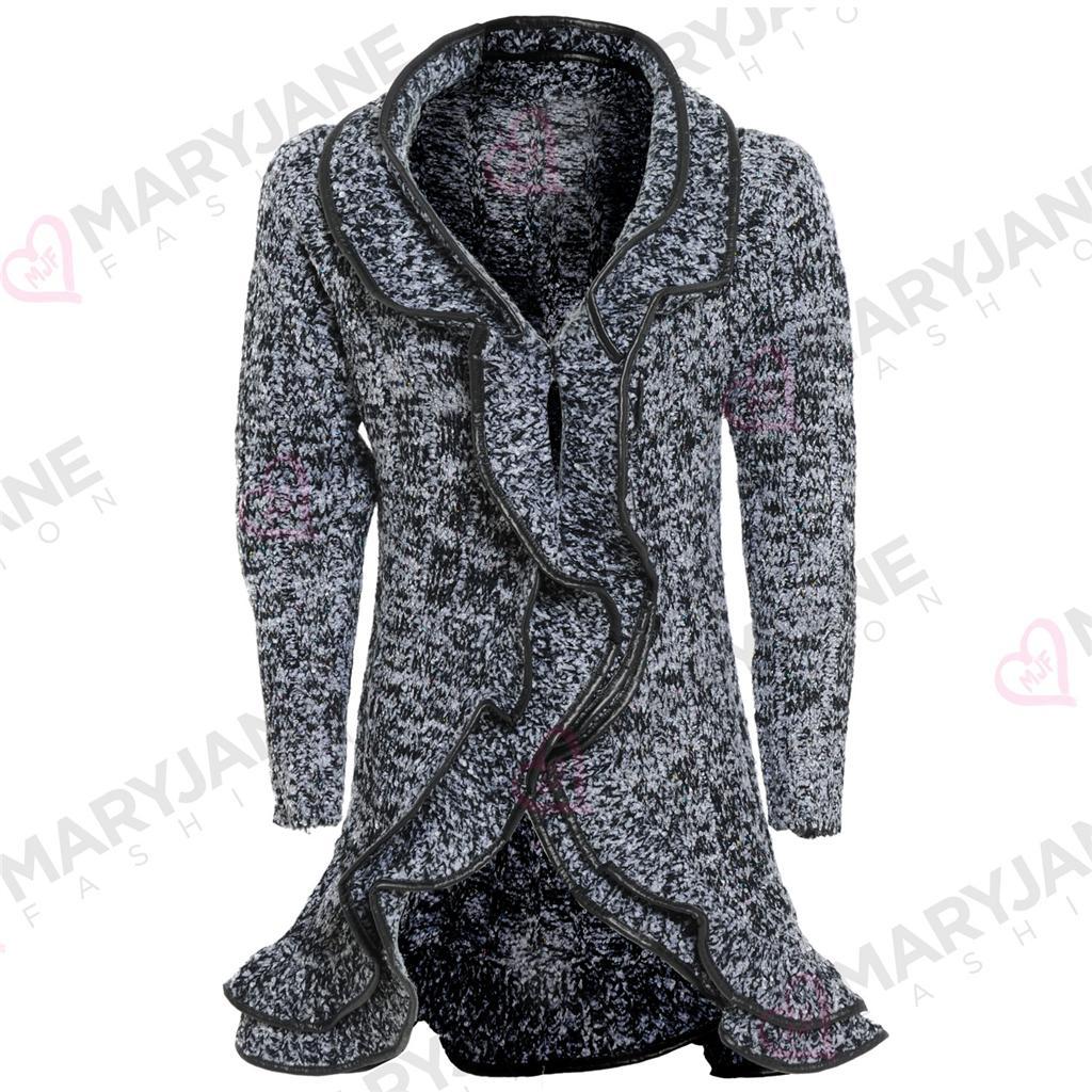 Damen Mantel Wolle Hellblau Damen Jacke Weste Mantel Wasserfall