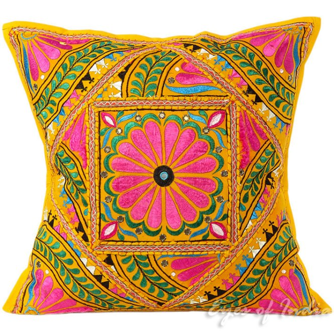 Vintage Cushion Cover Geometric Bohemian India Pillowcase Cotton Linen 45x45 Square Decorative Pillow Home Living