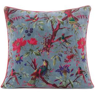 grey velvet pillow cushion cover with birds boho pillows eyes of india
