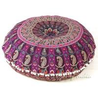 Purple & Pink Bohemian Floor Pillow Cushion | Mandala ...