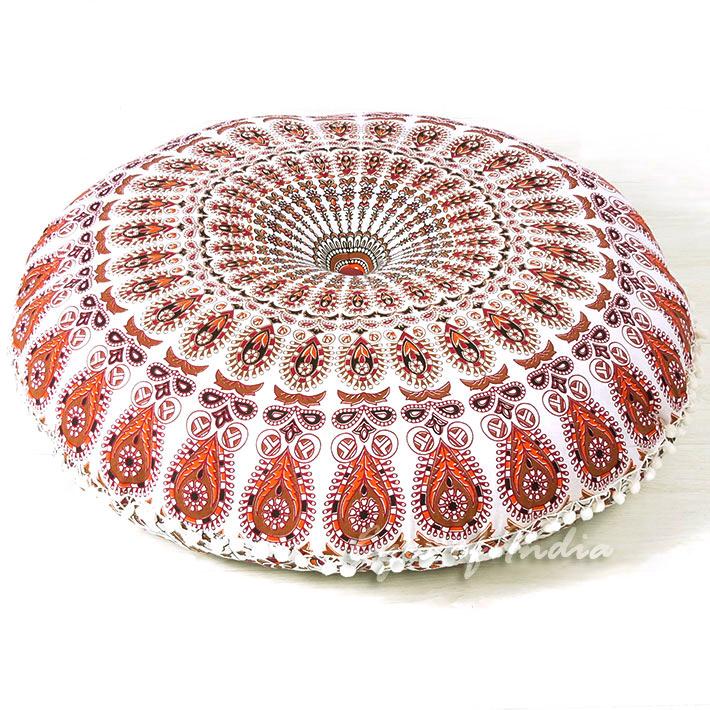White Bohemian Floor Cushion Pillow  Mandala Floor