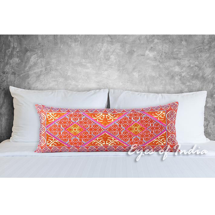 Orange Embroidered Colorful Boho Moroccan Bolster Long