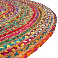Round Colorful Jute Rug | Jute Rugs | Eyes of India