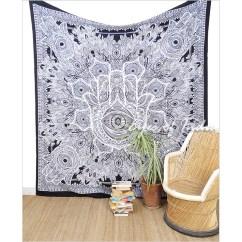 White Bohemian Hanging Chair Folding Wooden Rocking Black Hamsa Hippie Peace Tapestry Bedspread Wall Beach Boho Single Double