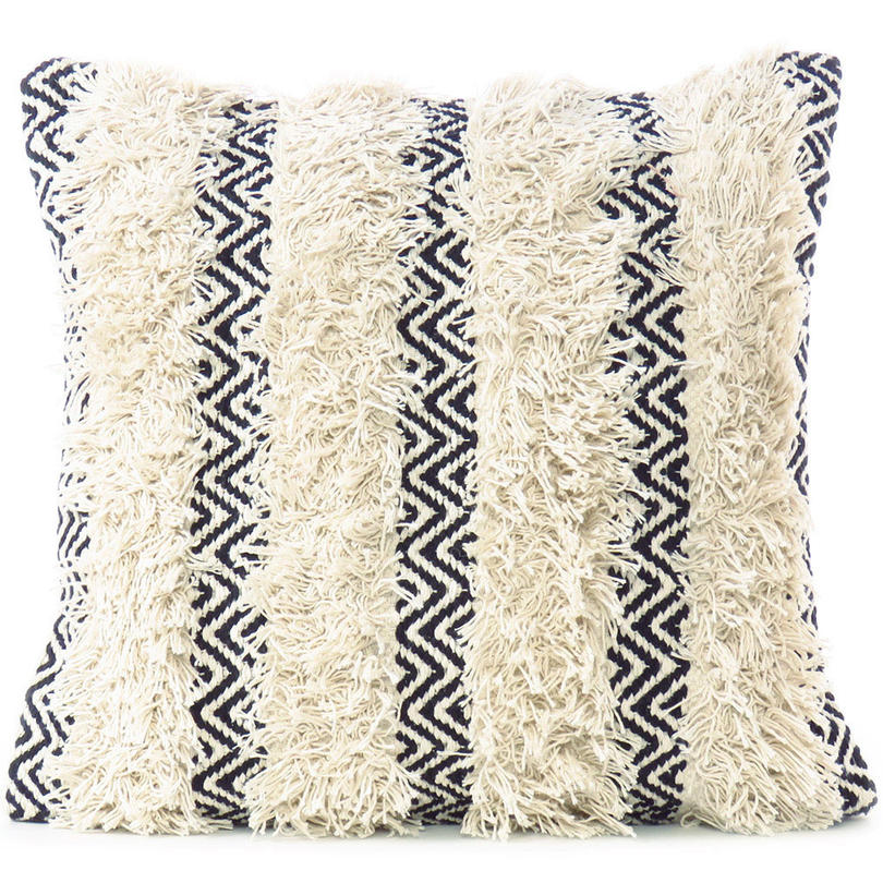 20 white black woven tufted tassel pillow wool embroidered on cotton cushion cover fringe sofa couch throw boho bohemian indian home bedding linen