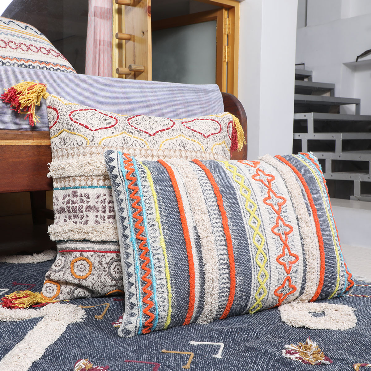 orange blue decorative fringe tassel pillow cotton cushion couch sofa throw bohemian colorful boho cover 16 x 24 dhurrie pillows eyes of india