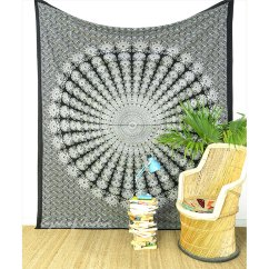 White Bohemian Hanging Chair Magenta Sashes Black Tapestry Mandala Bedding Hippie Boho Bedspread Wall Large Queen 1