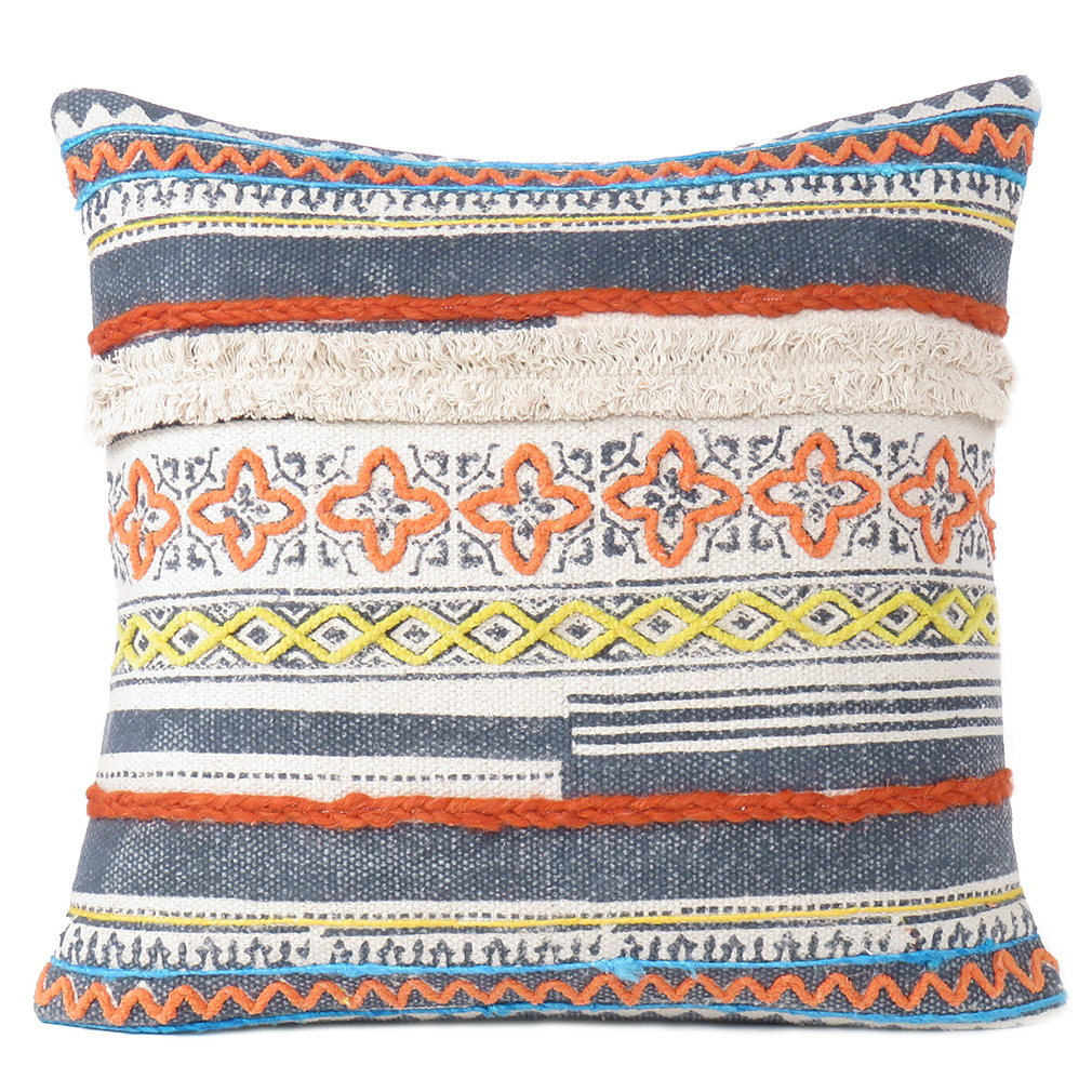 20 blue orange colorful decorative boho fringe tassel pillow sofa cushion cover dhurrie pillows eyes of india