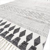 White Black Cotton Block Print Area Accent Flat Weave ...
