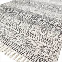 4 X 6 ft BLACK WHITE PRINTED AREA ACCENT DHURRIE COTTON ...