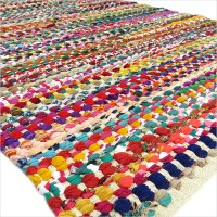 3 X 5 ft COLORFUL RAG RUG CHINDI FLOOR MAT CARPET TAPESTRY ...
