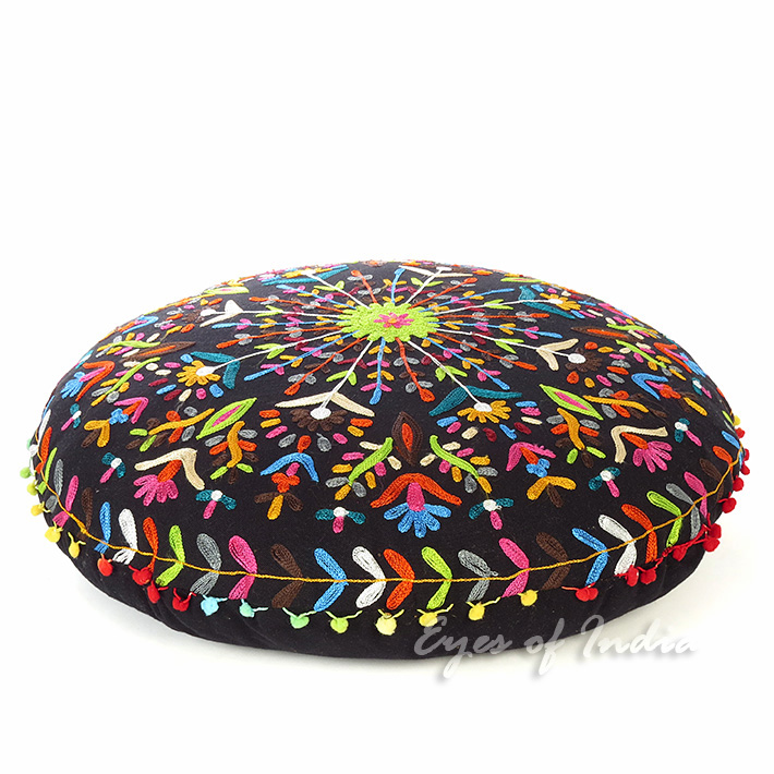 Embroidered Round Decorative Floor Pillow Cushion Cover