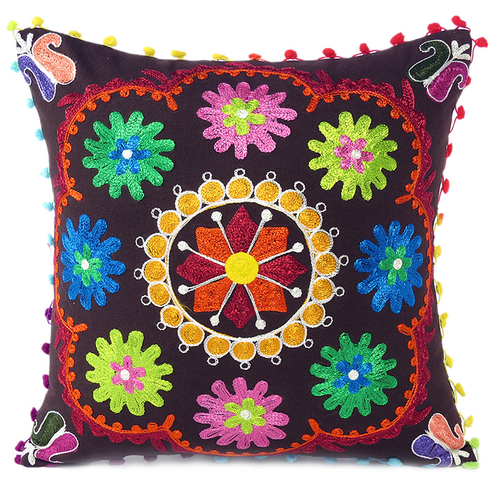 brown boho embroidered colorful decorative sofa bohemian couch cushion throw pillow cover 16